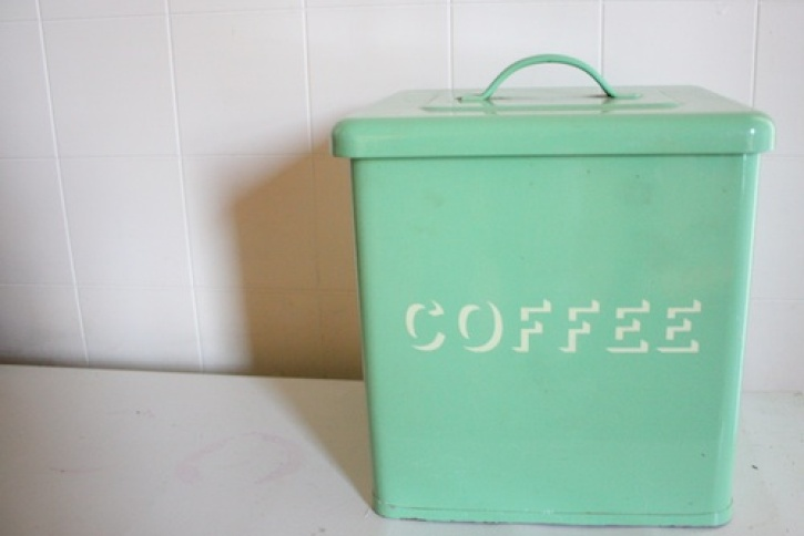 Vintage green coffee tin.