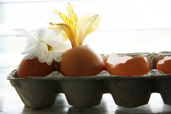 Make a simple centerpiece with eggshells and flowers. | redleafstyle.com