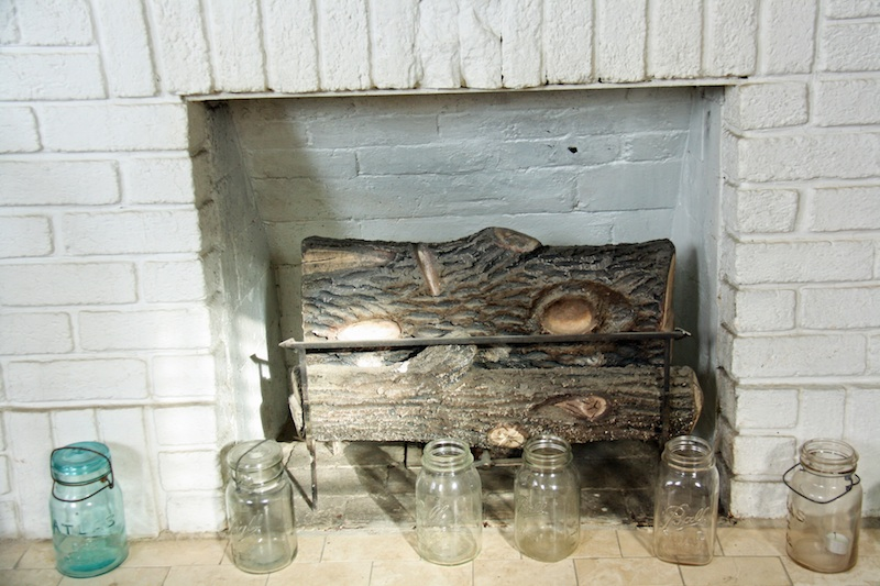 Mason Jar Display Row of Mason Jars