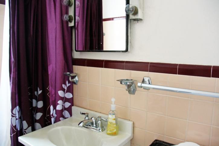 Bathroom sink and peach tile backsplash | redleafstyle.com