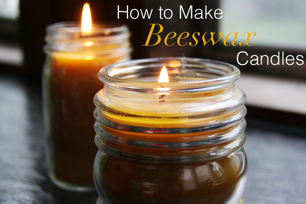 Lit beeswax candles.