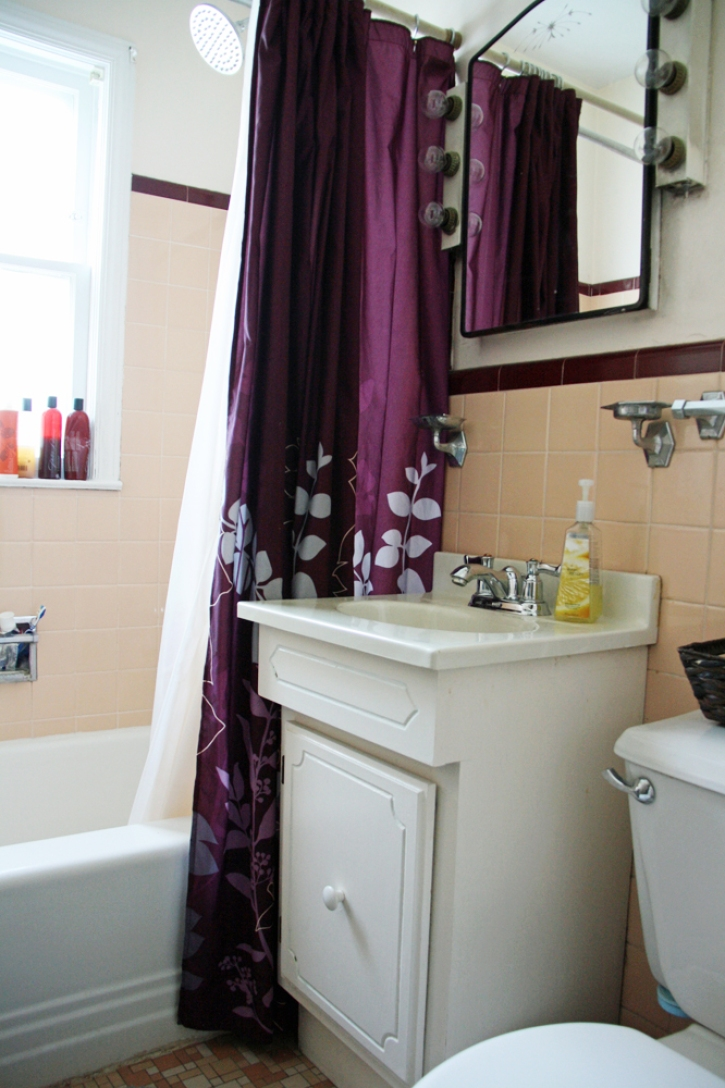 Bathroom Sink And Peach Tile Backsplash